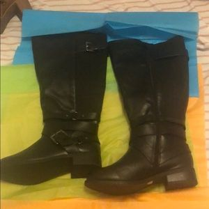 Black wide calf tall boots